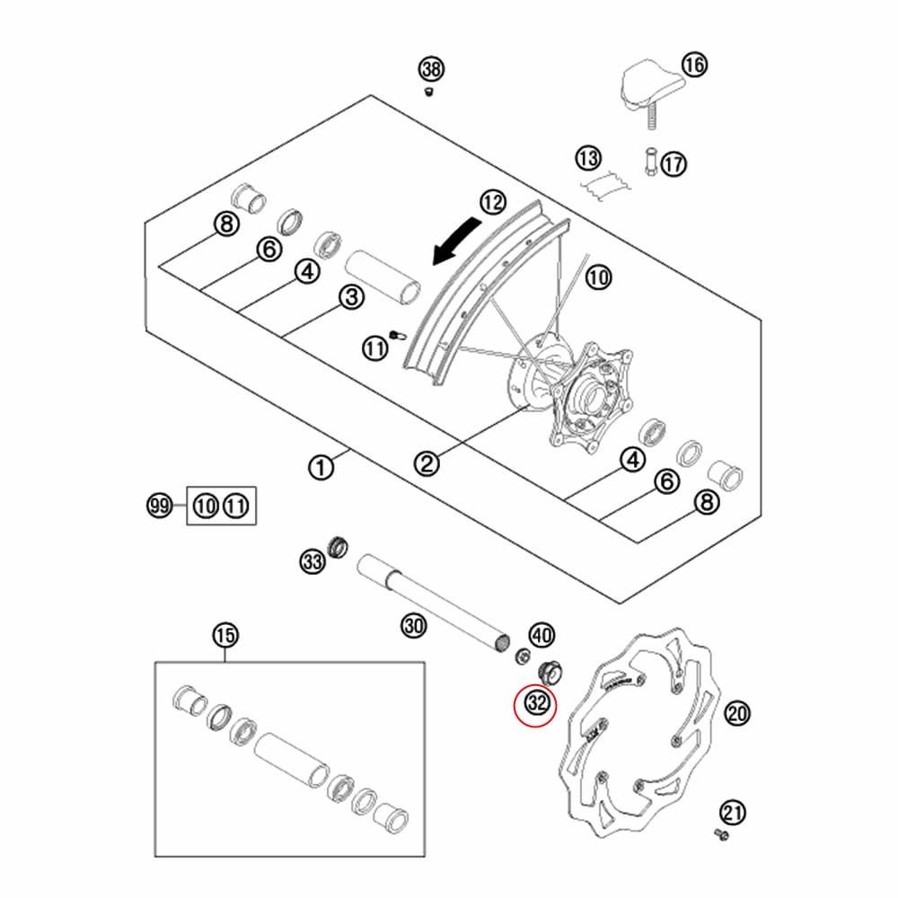 Porca do Eixo da Roda Dianteira KTM 125-690 02-14