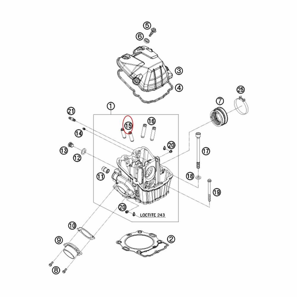 Guia da Válvula de Escape KTM 400/450/530/570 08-11